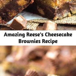A Reese's Peanut Butter Cup heaven! It's for the ultimate Reese's lover! A fudgy brownie stuffed with Reese's, a creamy peanut butter cheesecake layer and topped with chocolate! These are insanely good!