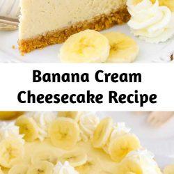 This Banana Cream Cheesecake Recipe is made with a fresh banana cheesecake topped with banana bavarian cream! It's smooth, creamy & full of banana flavor! #cheesecake #cheesecakerecipe