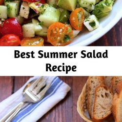 This tomato, cucumber, avocado salad is an easy, healthy, flavorful summer salad. It's crunchy, fresh and simple to make. It's a family favorite and ready in less than 15 minutes.