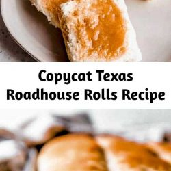 This easy Copycat Texas Roadhouse Rolls recipe smeared with Cinnamon Honey Butter is just like the restaurant's, and is melt-in-your-mouth delicious!