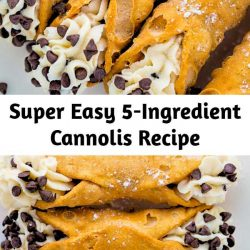 An easy and delicious recipe for 5-Ingredient Cannolis! This classic Italian dessert is always a crowd-pleaser. So if you've been searching for a foolproof recipe for cannoli filling, this one's for you!