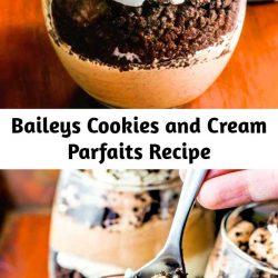 Layered chocolate and Baileys cream paired with crumbled Oreo cookies. This delicious Baileys parfait is the perfect weekend retreat!