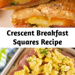 We love ourselves a good crescent dough hack, and this one is one of our faves. Look for dough you can buy as a full sheet (as opposed to the kind with perforated edges). It's not totally necessary, but it'll make things easier to assemble. #easy #recipe #eggs #cheese #crescentdough #dough #breakfast #brunch #ham #sheetpan #squares